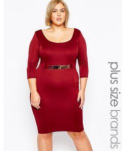 Goddiva plus | Платье Миди С Золотистым Поясом Size