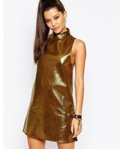 MISSGUIDED | Золотистое Свободное Платье С Высоким Воротом Золотой