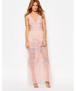 Millie Mackintosh | Платье Макси С Полупрозрачными Вставками Розовый