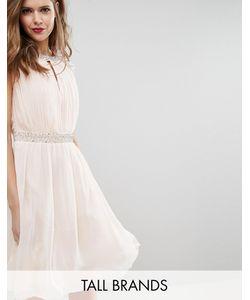 Little Mistress Tall | Короткое Приталенное Платье С Декоративной Отделкой Телесный