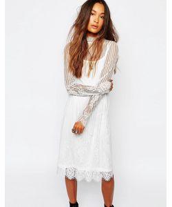 Navy | Прозрачное Кружевное Платье С Высоким Воротом London Белый