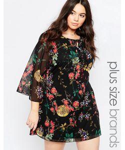 Yumi Plus | Цельнокройное Платье С Рукавомбабочка И Цветами Черный