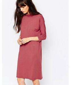 Just Female | Розовое Трикотажное Платье С Высоким Воротом Розовый