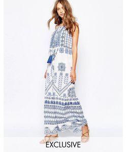 White Sand | Платье Макси С Мозаичным Принтом И Завязками Спереди