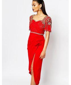 Virgos Lounge | Платье Миди С Высоким Разрезом И Нарядной Отделкой Laila