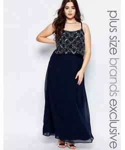 Lovedrobe Luxe | Двухслойное Платье Макси С Отделкой Темно-Синий