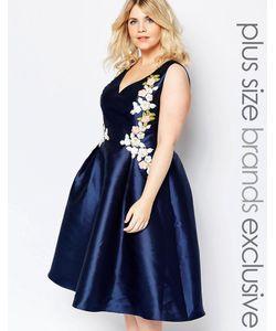 Chi Chi Plus   Платье Для Выпускного С Глубоким Вырезом И Вышивкой Chi Chi London