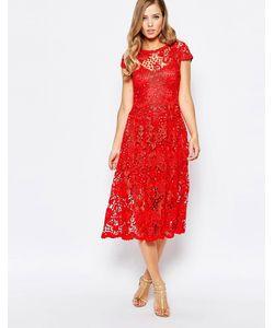 Body Frock | Кружевное Платье Миди Алого Цвета Poppy
