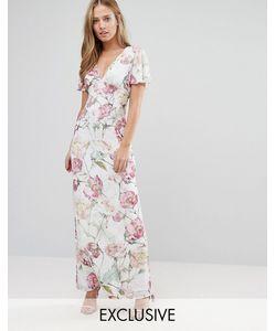 Hope and Ivy   Платье Макси С Винтажным Цветочным Принтом Сиреневый