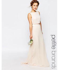 TFNC Petite | Сатиновое Платье Макси С Бантом Сзади Wedding Телесный