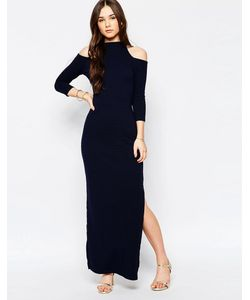 Wal G | Платье Макси С Вырезами На Плечах Темно-Синий