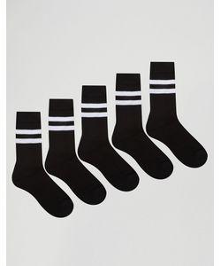 Asos | Набор Из 5 Пар Черных Носков С Полосками Monochrome