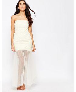 JARLO | Платье-Бандо С Шифоновым Верхним Слоем Макси Античный Кремовый