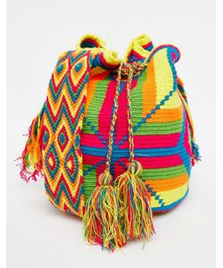 Jardin Del Cielo   Разноцветная Сумка Ручной Вязки Wayuu Mochila Неоновый