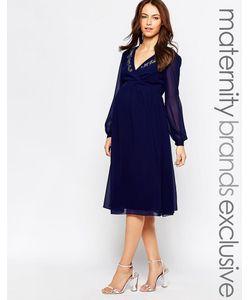 Little Mistress Maternity   Платье Миди Для Беременных С Запахом Спереди