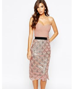 Rare | Платье Миди 2-В-1 С Пайетками И Фактурной Отделкой По Краю