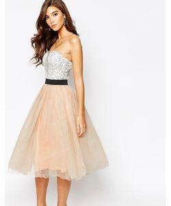 Rare | Кружевное Платье Миди Для Выпускного С Юбкой Из Тюля London
