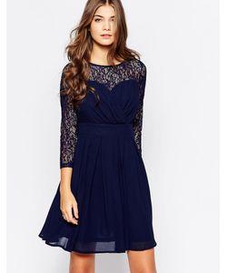 Style London | Короткое Приталенное Платье С Кружевным Топом