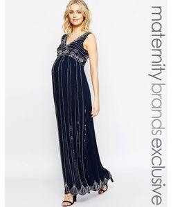 Maya Maternity | Винтажное Платье Макси С Отделкой Для Беременных Темно-Синий