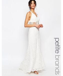 Jarlo Petite | Кружевное Платье Макси С Лямкой Через Шею Белый