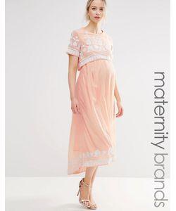 Maya Maternity | Платье Миди Асимметричной Длины С Вышивкой Для Беременных Maya Materni