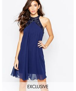 Lipsy | Свободное Платье Бэбидолл С Высокой Горловиной И Отделкой Темно-Синий