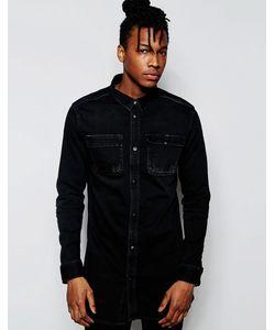 D.I.E | Черная Удлиненная Джинсовая Рубашка Классического Кроя . Workman Black Wash