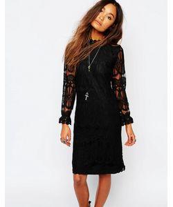 Navy | Прозрачное Кружевное Платье С Высоким Воротом London Черный
