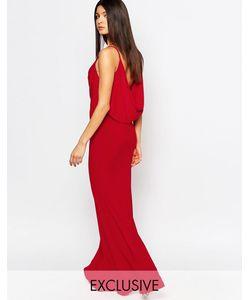 Club L | Платье Макси С Драпировкой Спереди И Сзади Красный
