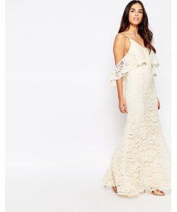 JARLO | Кружевное Платье Макси С Открытыми Плечами И Юбкой Годе