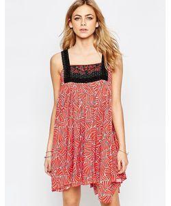 Hazel | Красное Платье Мини С Вышивкой Спереди Красный