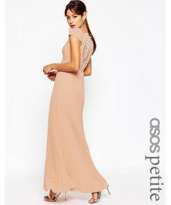ASOS PETITE | Плиссированное Платье Макси С Кружевной Спинкой Wedding Розовый