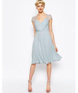 Asos | Платье Миди С Кружевными Вставками Kate Серый Лед