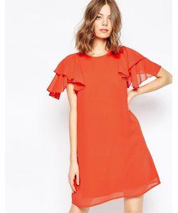 Asos | Цельнокройное Платье С Оборками На Рукавах Оранжевый