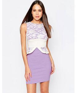 Vesper | Платье-Футляр С Кружевным Топом И Баской Ronnie Фиолетовый