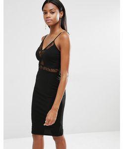 MISSGUIDED | Платье На Тонких Бретельках С Кружевной Вставкой Черный