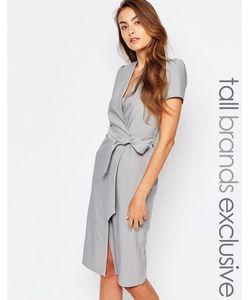 Alter Tall | Платье С Запахом И Завязкой На Талии Светло-Серый