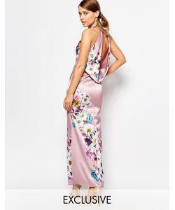 True Violet | Атласное Платье Макси Со Свободным Воротом Сзади Серо-Коричневый