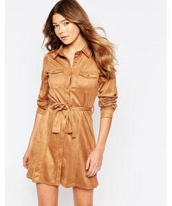Girl In Mind | Платье-Рубашка Из Искусственной Замши С Застежкой На Пуговицы Спереди