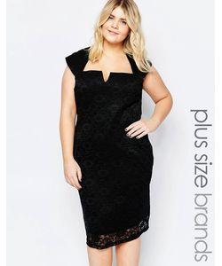 Goddiva plus | Кружевное Платье С Вырезом На Горловине Черный