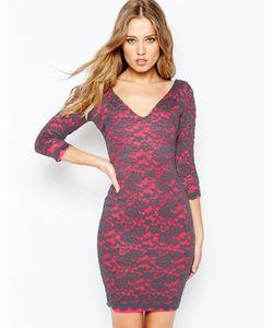 Hedonia | Облегающее Кружевное Платье Цвета Индиго Розовый