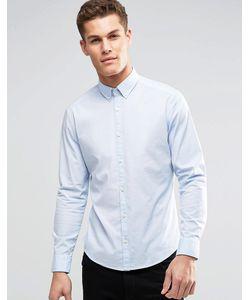 Esprit | Хлопковая Эластичная Рубашка Узкого Кроя Небесно-Голубой