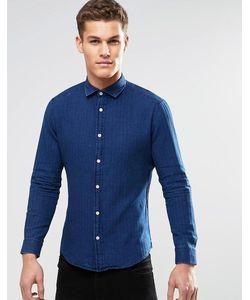 Esprit | Рубашка Зауженного Кроя С Длинными Рукавами Темный Синий