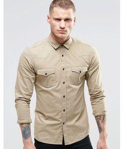 Asos | Рубашка В Стиле Вестерн С Длинными Рукавами Stone