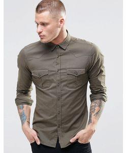 Asos | Зауженная Рубашка В Стиле Вестерн Цвета Хаки С Длинными Рукавами