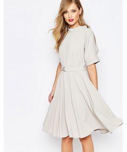 Closet | Приталенное Платье Миди С Поясом И Dобразной Пряжкой