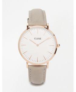 Cluse   Часы С Серым Кожаным Ремешком И Корпусом Под Розовое Золото