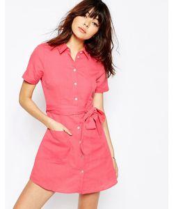 Asos | Платье-Рубашка Из Натуральных Волокон Розовый