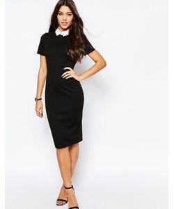 Asos | Облегающее Платье С Воротником Черный