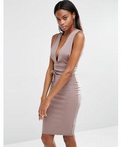 MISSGUIDED | Платье Миди С Поясом Серый